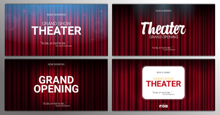 Theater stage. Red curtains stage, theater or opera background with spotlight. Festival night show banner. Illustration