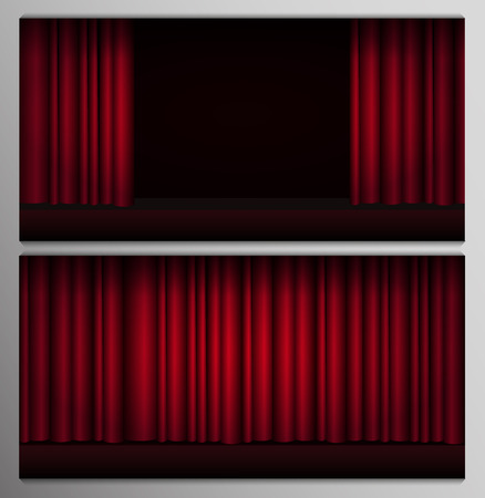 Set of Red curtains stage, theater or opera background with spotlight. Illustration