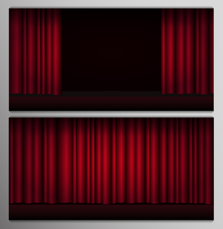 Set of Red curtains stage, theater or opera background with spotlight Illustration