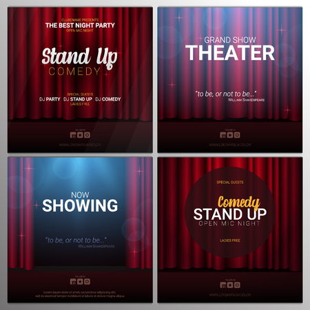 Set of Stand up and Theater banners. Red curtains stage, theater or opera background with spotlight