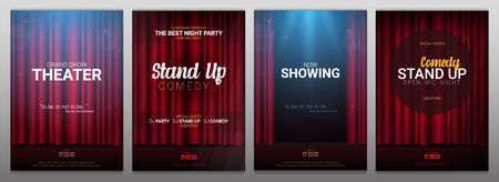 Set of Stand up and Theater banners. Red curtains stage, theater or opera background with spotlight Banque d'images - 125183057