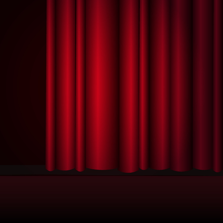 Red curtains stage, theater or opera background with spotlight