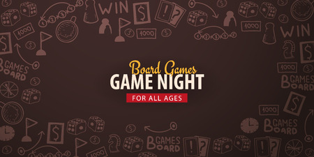 Board Games banners. For all Ages. Hand draw doodle background. Vector illustration