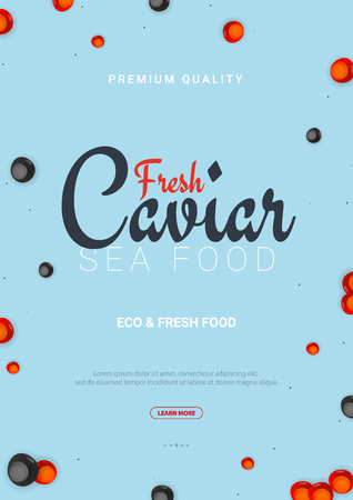 Caviar banner. Delicious seafood background. Caviar vector illustration. Natural and healthy luxury food. Design for fish menu. Vector Illustration