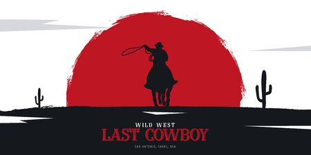 Cowboy banner. Wild West and Rodeo with horse. Texas. Vector illustration. Ilustração