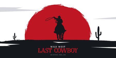 Cowboy banner. Wild West and Rodeo with horse. Texas. Vector illustration. Illusztráció