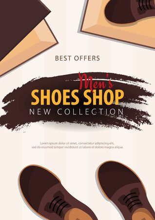 Mens Shoes Shop. New collection. Vector illustration. 일러스트