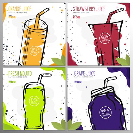 Set of Orange, Grape, Strawberry Juices and Mojito in a glass. Banners smoothies, lemonade, fresh, detox in sketch style. Illustration