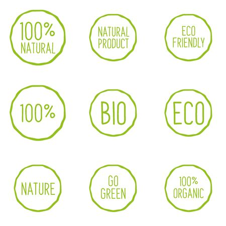 Set of Bio, Eco and Natural product emblems. Do Green and Eco friendly. 일러스트