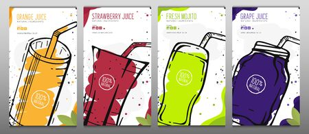 Set of Orange, Grape, Strawberry Juices and Mojito in a glass. Banners smoothies, lemonade, fresh, detox in sketch style. 일러스트