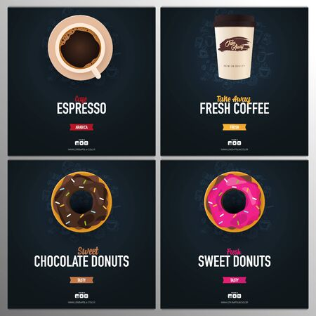 Set of banners. Take Away, Cup of Coffee and sweet donuts ads with hand draw doodle background.