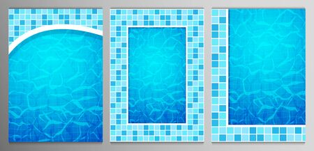 Set of Swimming pool bottom caustics ripple and flow with waves backgrounds. Texture of water surface. Overhead view. Vector illustration.  イラスト・ベクター素材