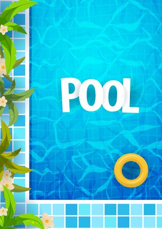 Summer pool party poster template. Water and palms, inflatable yellow mattress. Vector illustration. Ilustração