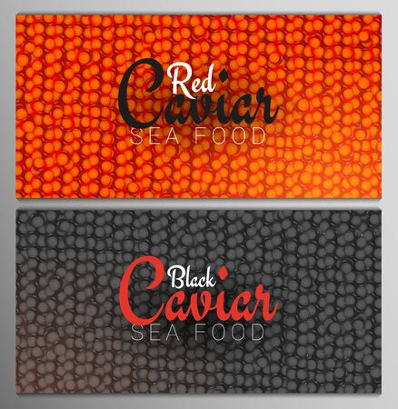 Set of Red and Black Caviar banners. Delicious seafood backgrounds. Caviar vector illustration. Natural and healthy luxury food. Design for fish menu. Vector Illustration.