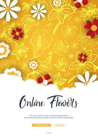 Flat flowers on a sketches background. Floral banner. Vector illustration 일러스트