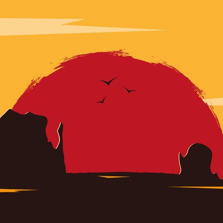 Wild West landscape with mountains and cactus. Sunset at the Texas. Vector illustration