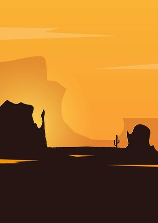 Wild West landscape with mountains and cactus. Sunset at the Texas. Vector illustration Reklamní fotografie - 124907842