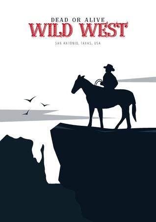 Cowboy banner. Wild West and Rodeo with horse. Texas. Vector illustration Reklamní fotografie - 124907822