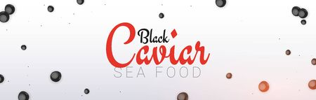 Black Caviar banner. Delicious seafood background. Caviar vector illustration. Natural and healthy luxury food. Design for fish menu. Vector Illustration Ilustração