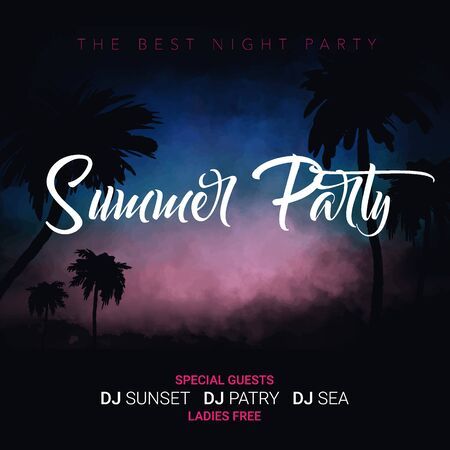 Summer Party. Tropical background with palms, sky and sunset. Summer Time Banque d'images - 125332103