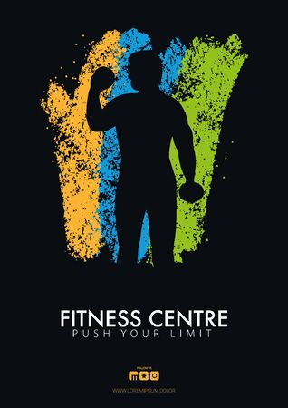Fitness Club Banner with man on the color grunge style background Ilustración de vector