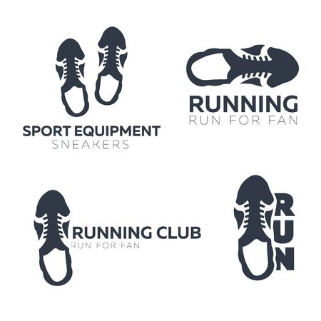 Run Marathon. Set of Sport or Running Club with sneakers.