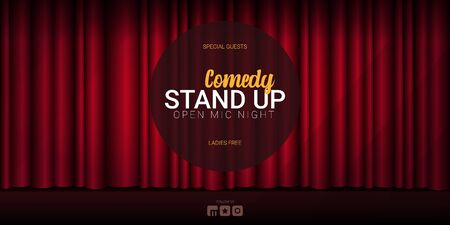 Stand Up Comedy banner with Red curtains background with spotlight