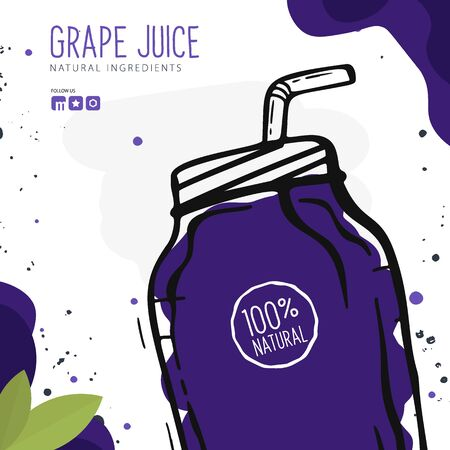 Grape Juice in a glass. Banner smoothies, lemonade, fresh, detox in sketch style.
