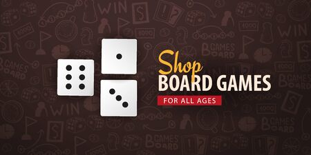 Board Games banner with dices. Hand draw doodle background. Vector illustration.  イラスト・ベクター素材