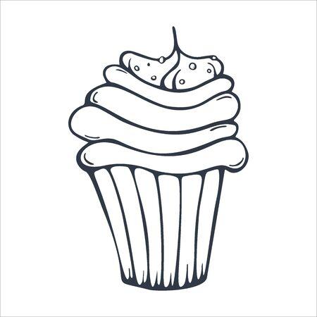 Bocetos de cupcakes o tartas para panadería y pastelería.