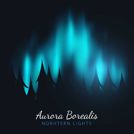 Night Sky, Aurora Borealis, Northern Lights Effect on dark background behind the forest. Realistic Colored polar lights.