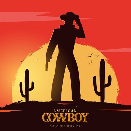 Cowboy banner. Wild West and Rodeo with horse. Texas. Vector illustration. Иллюстрация