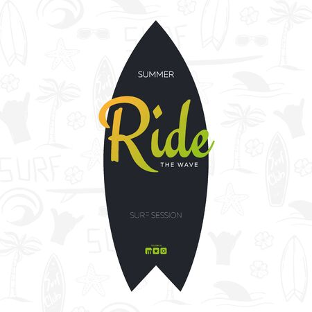 Summer Surfing Poster for Surf Club or Shop with hand draw background and Surfboard.