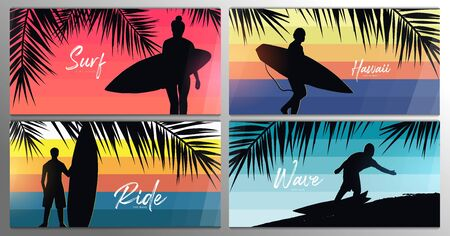 Set banners of Surfers with surfboards on colorful gradient background with palm leaves.