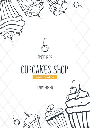Cupcakes and Cakes banner with sketches hand drawing background. Vectores