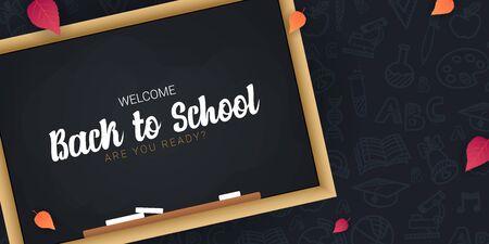 Bentornato a scuola banner con lavagna e mano scura disegnare sfondo scarabocchio.