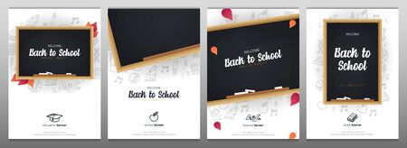 Set of Welcome Back to School banners with chalkboard and white hand draw doodle background.