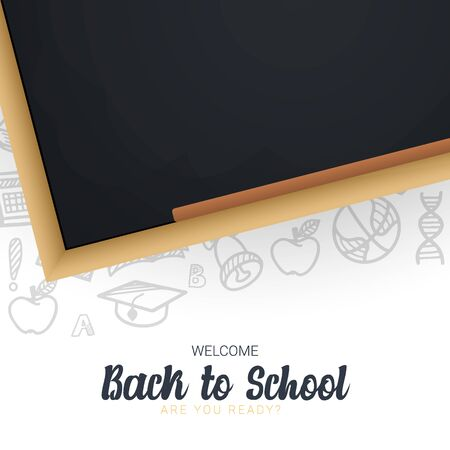 Welcome Back to School banner with chalkboard and white hand draw doodle background.