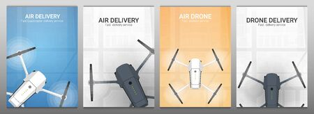 Set of banners. Air delivery. Drone flying over the city. City map on the background. Aerial Drone taking photography and video.