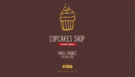 Cupcakes and Cakes banner. Bakery and pastry. Illustration