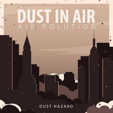 Dust in Air. Dust hazard. Polluted air in City. Vector Illustration