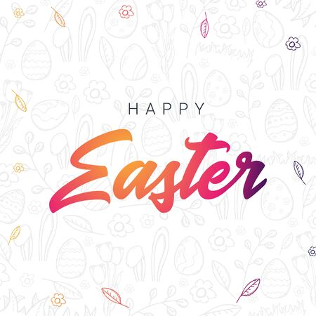 Happy Easter typography poster on the hand-draw doodle backgrounds. Modern calligraphy. Vector illustration. Illustration
