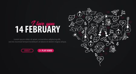Valentines Day banner with doodle background. 14 February. Vector Illustration. Illustration
