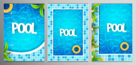 Set of Summer pool party posters template. Water and palms, inflatable yellow mattress. Vector illustration.