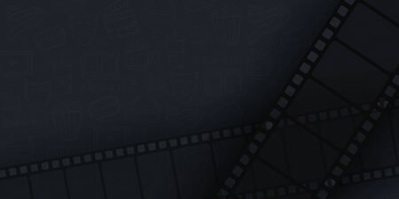 Collection film strip frame on hand draw doodle background. Old cinema banner with stripe roll.