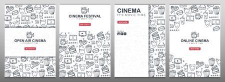 Set Hand loting Cinema doodle achtergronden. Film tijd. Vector Illustratie