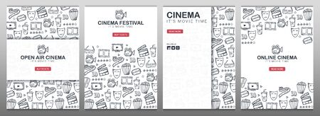 Set of Hand draw Cinema doodle backgrounds. Movie Time. Ilustración de vector