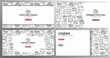Set of Hand draw Cinema doodle backgrounds. Movie Time. Illustration