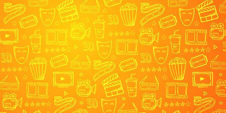 Hand draw Cinema doodle background. Movie Time
