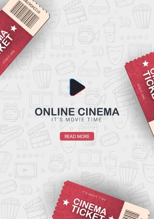 Online Cinema banner with tickets. Hand draw doodle background. Illustration
